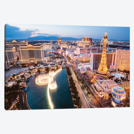 The Fountains Of Bellagio And The Strip, Las Vegas, Nevada, USA Canvas Print #TEO100} by Matteo Colombo Canvas Art Print