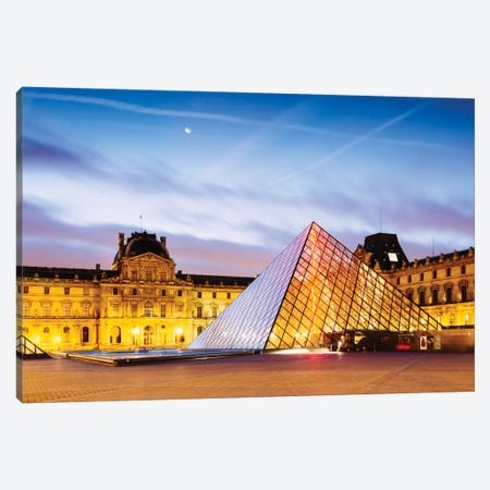 The Louvre Palace and Pyramid At Dawn, Paris, Ile-de-France, France Canvas Print #TEO102} by Matteo Colombo Canvas Print