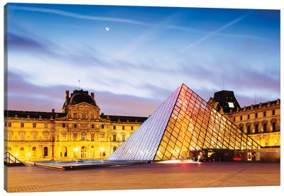 The Louvre Palace and Pyramid At Dawn, Paris, Ile-de-France, France Canvas Print #TEO102