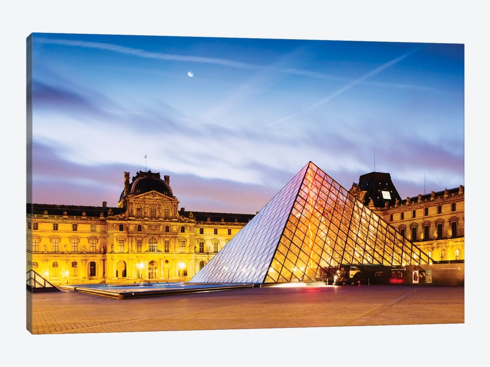 The Louvre Palace and Pyramid At Dawn, Paris, Ile-de-France, France by Matteo Colombo 1-piece Canvas Print