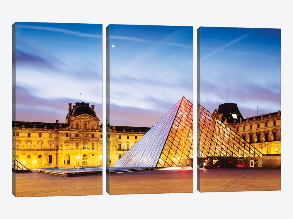 The Louvre Palace and Pyramid At Dawn, Paris, Ile-de-France, France by Matteo Colombo 3-piece Art Print