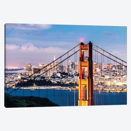Tower Of Golden Gate Bridge At Dusk With Financial District In The Background, San Francisco, California, USA Canvas Print #TEO104} by Matteo Colombo Canvas Art