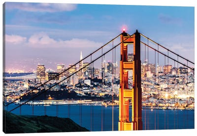 Tower Of Golden Gate Bridge At Dusk With Financial District In The Background, San Francisco, California, USA Canvas Art Print