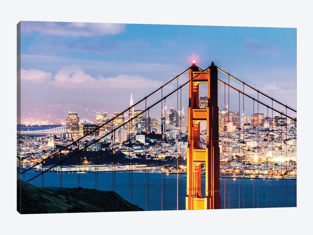 Tower Of Golden Gate Bridge At Dusk With Financial District In The Background, San Francisco, California, USA 1-piece Art Print