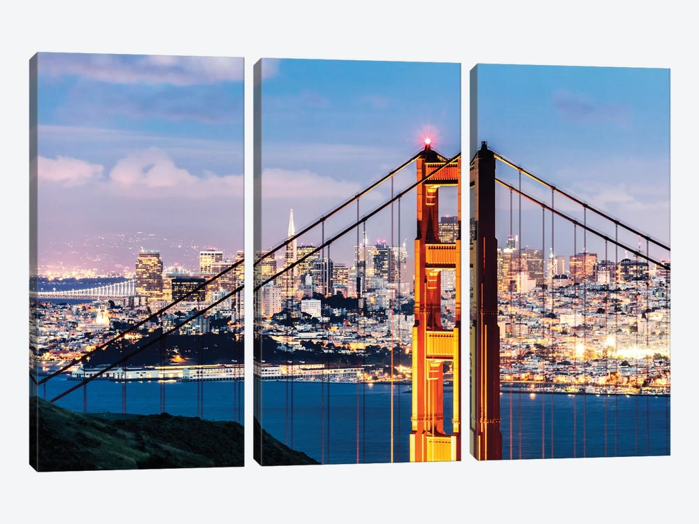 Tower Of Golden Gate Bridge At Dusk With Financial District In The Background, San Francisco, California, USA 3-piece Canvas Print