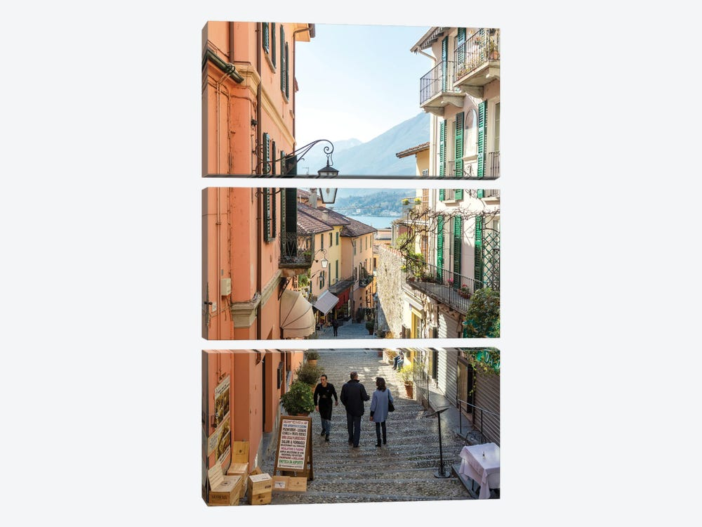 In The Streets Of Bellagio, Italy by Matteo Colombo 3-piece Canvas Wall Art