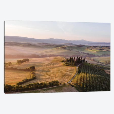 Aerial Of Belvedere At Sunrise, Tuscany, Italy Canvas Print #TEO107} by Matteo Colombo Canvas Artwork