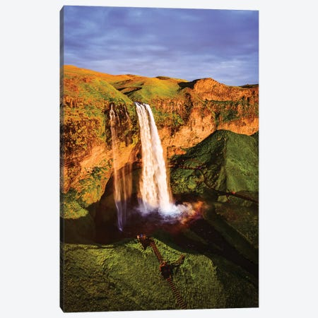 Sunset At The Waterfall, Iceland Canvas Print #TEO1086} by Matteo Colombo Canvas Artwork