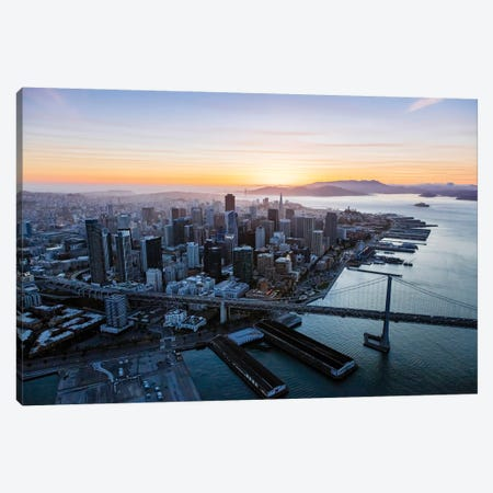 Aerial Of Downtown At Sunset, San Francisco Canvas Print #TEO108} by Matteo Colombo Art Print