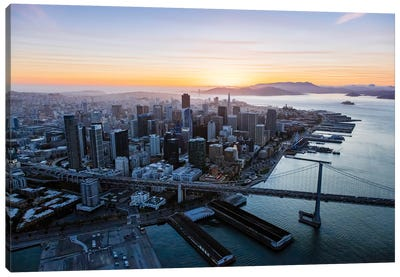 Aerial Of Downtown At Sunset, San Francisco Canvas Art Print