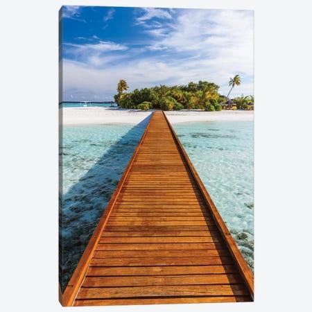 Jetty To The Island, Maldives Canvas Print #TEO1090} by Matteo Colombo Canvas Wall Art