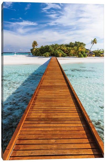 Jetty To The Island, Maldives Canvas Art Print