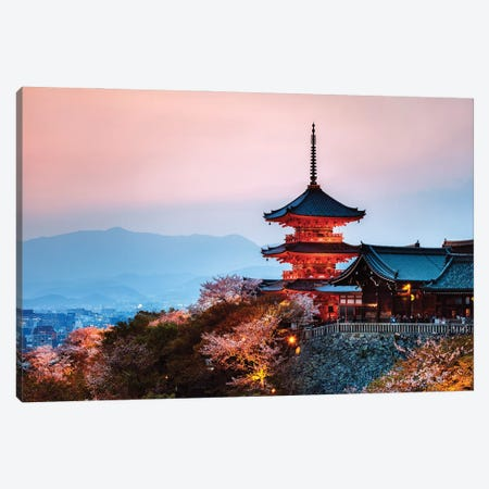 Sunset Over The Temple, Japan Canvas Print #TEO1106} by Matteo Colombo Canvas Print