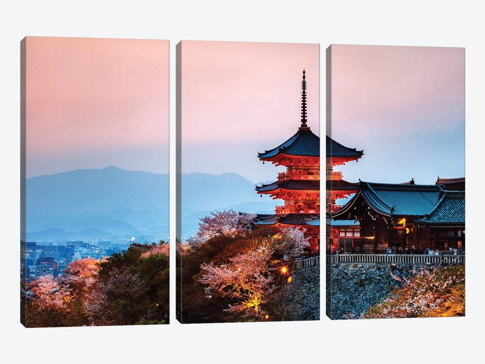 Sunset Over The Temple, Japan by Matteo Colombo 3-piece Canvas Wall Art