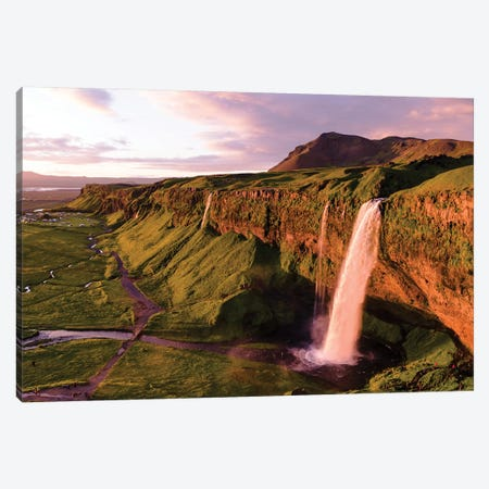 Aerial Of Seljalandsfoss Waterfall At Midnight, Iceland Canvas Print #TEO110} by Matteo Colombo Canvas Artwork