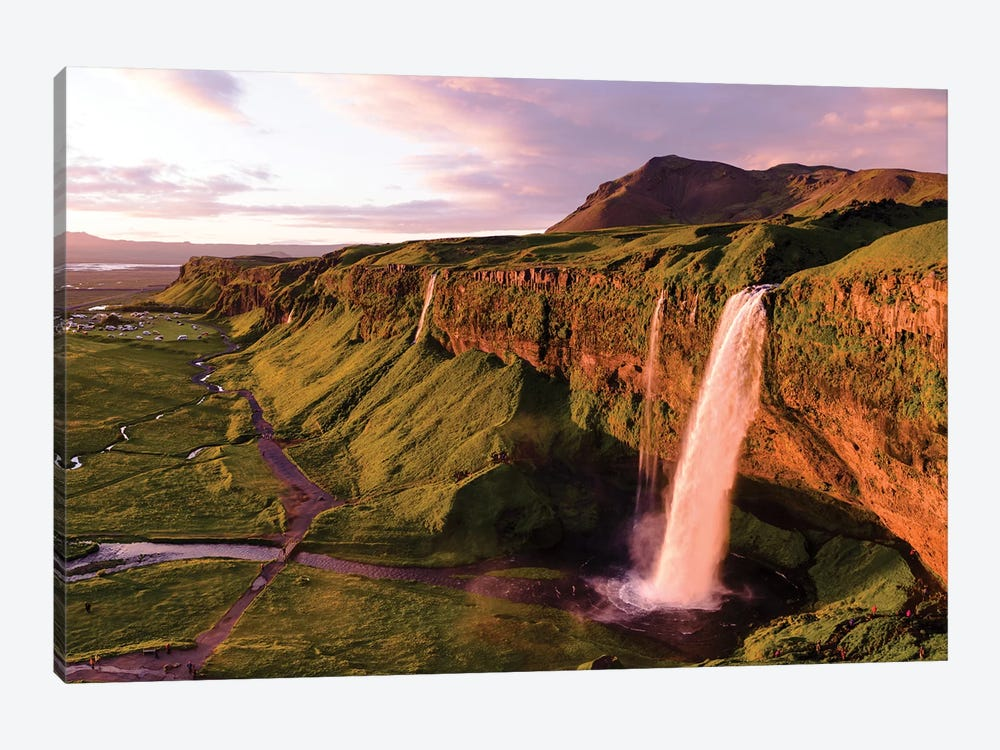 Aerial Of Seljalandsfoss Waterfall At Midnight, Iceland 1-piece Canvas Wall Art
