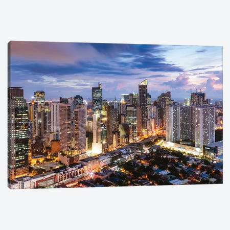 Manila At Night, Philippines Canvas Print #TEO1117} by Matteo Colombo Canvas Wall Art