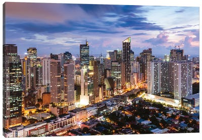 Manila At Night, Philippines Canvas Art Print
