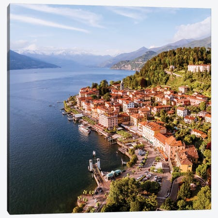 Aerial View Of Bellagio On Lake Como, Italy Canvas Print #TEO112} by Matteo Colombo Canvas Art