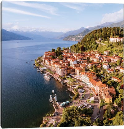 Aerial View Of Bellagio On Lake Como, Italy Canvas Art Print