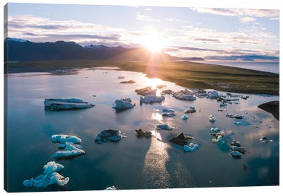 Aerial View Of Jokulsarlon Glacial Lake, Iceland Canvas Art Print
