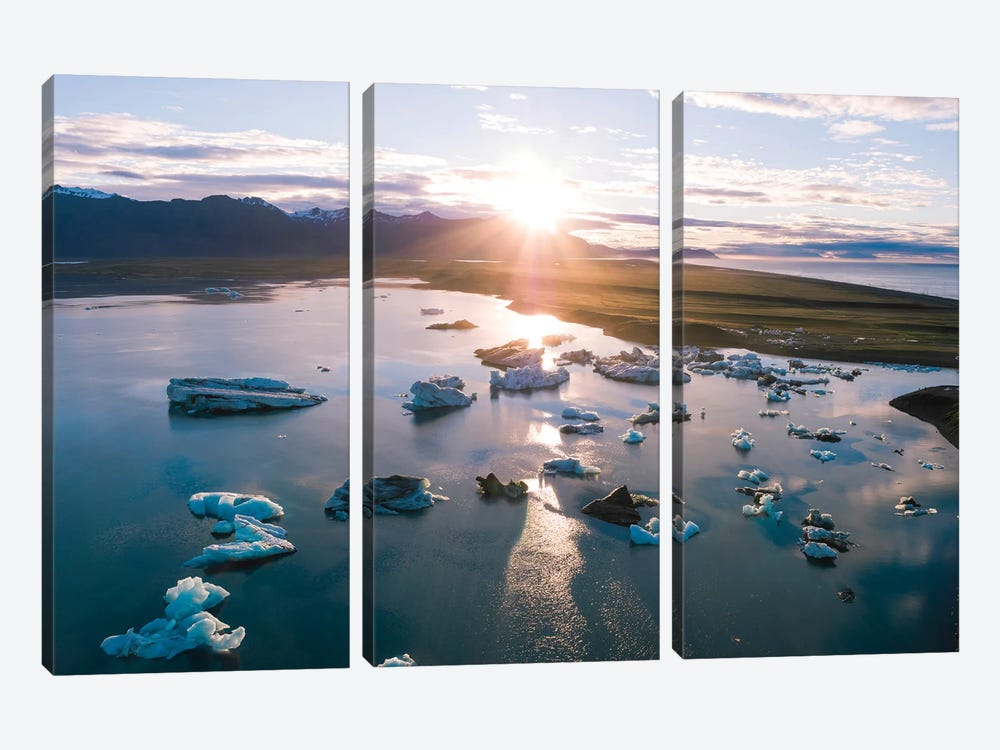 Aerial View Of Jokulsarlon Glacial Lake, Iceland by Matteo Colombo 3-piece Canvas Print