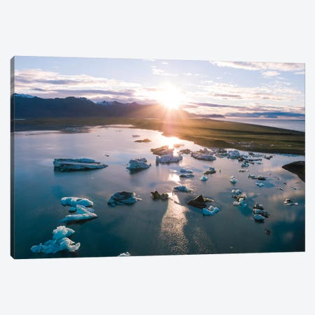 Aerial View Of Jokulsarlon Glacial Lake, Iceland Canvas Print #TEO113} by Matteo Colombo Canvas Art