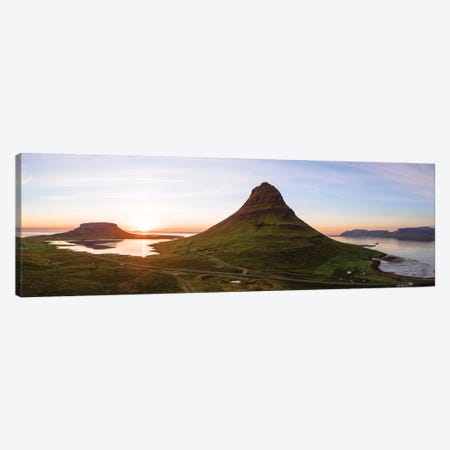 Aerial View Of Kirkjufell Mountain At Sunset, Iceland Canvas Print #TEO114} by Matteo Colombo Art Print