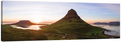 Aerial View Of Kirkjufell Mountain At Sunset, Iceland Canvas Art Print