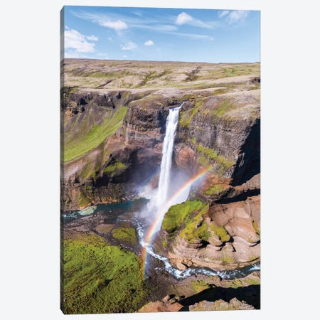 Aerial View Of Mighty Waterfall In Iceland Canvas Print #TEO115} by Matteo Colombo Canvas Print