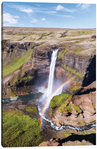 Aerial View Of Mighty Waterfall In Iceland Canvas Art Print
