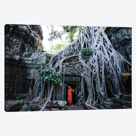 Monk At Angkor, Cambodia Canvas Print #TEO1160} by Matteo Colombo Canvas Artwork