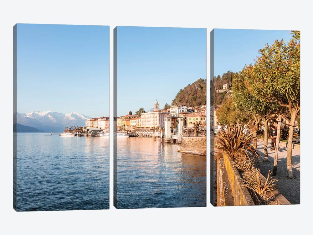 Bellagio Waterfront, Como Lake, Italy by Matteo Colombo 3-piece Canvas Wall Art