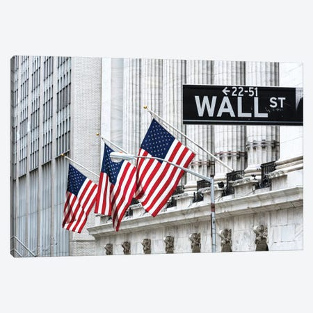 American Flags & Wall Street Signage, New York Stock Exchange, Financial District, Lower Manhattan, New York City, New York, USA Canvas Print #TEO11} by Matteo Colombo Art Print