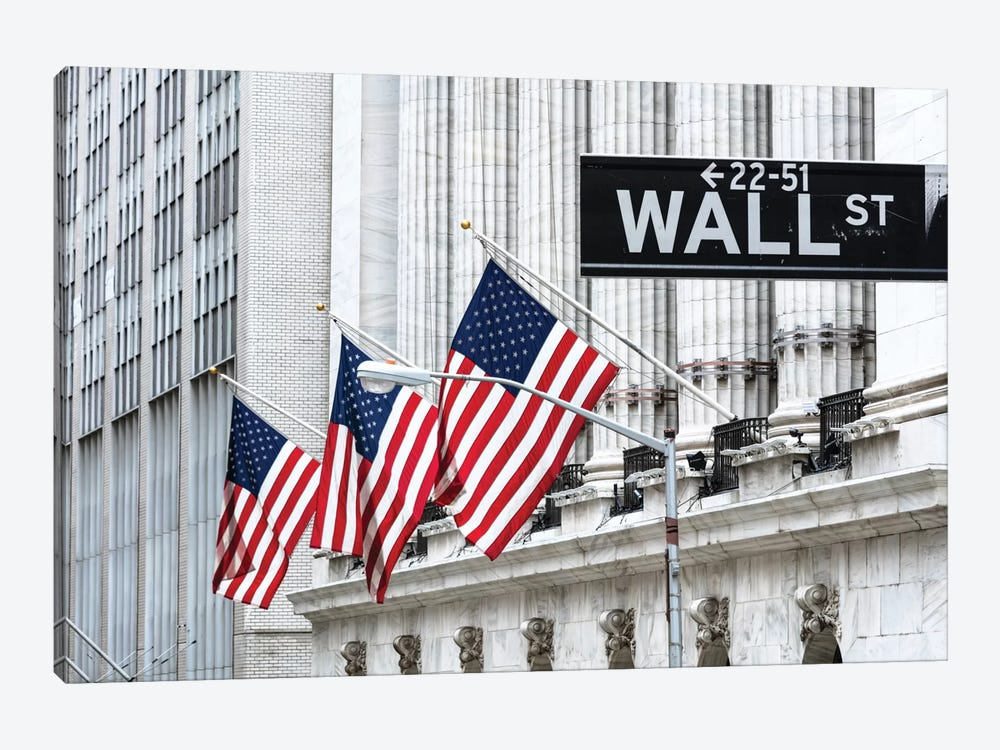 American Flags & Wall Street Signage, New York Stock Exchange, Financial District, Lower Manhattan, New York City, New York, USA by Matteo Colombo 1-piece Canvas Artwork