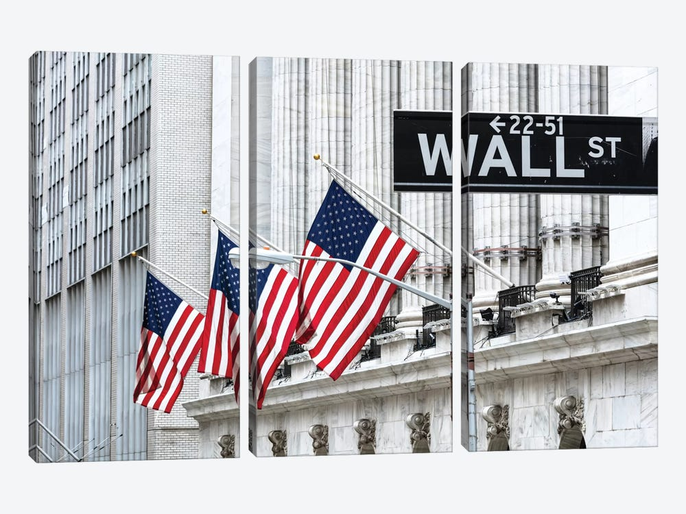 American Flags & Wall Street Signage, New York Stock Exchange, Financial District, Lower Manhattan, New York City, New York, USA by Matteo Colombo 3-piece Canvas Art