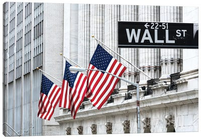American Flags & Wall Street Signage, New York Stock Exchange, Financial District, Lower Manhattan, New York City, New York, USA Canvas Art Print