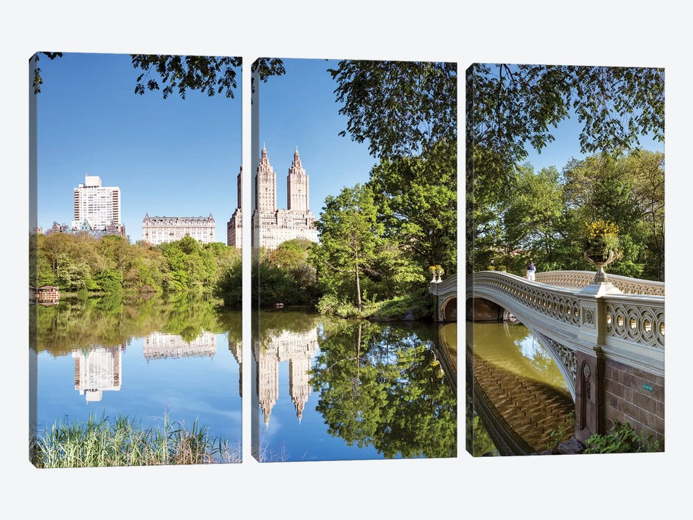 Bow Bridge Panoramic, Central Park, New York by Matteo Colombo 3-piece Art Print