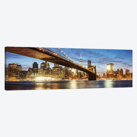 Brooklyn Bridge Panoramic, New York Canvas Print #TEO123} by Matteo Colombo Art Print