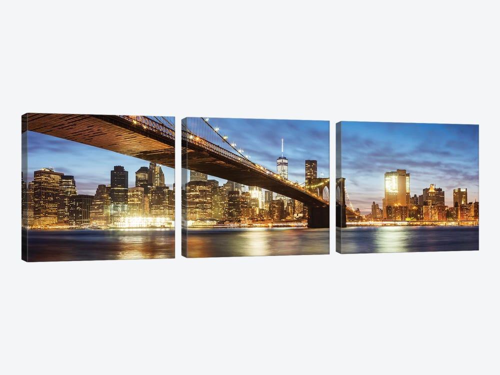Brooklyn Bridge Panoramic, New York by Matteo Colombo 3-piece Canvas Wall Art