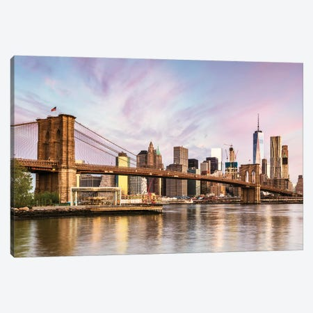 Brooklyn Bridge Sunrise, New York Canvas Print #TEO124} by Matteo Colombo Canvas Artwork