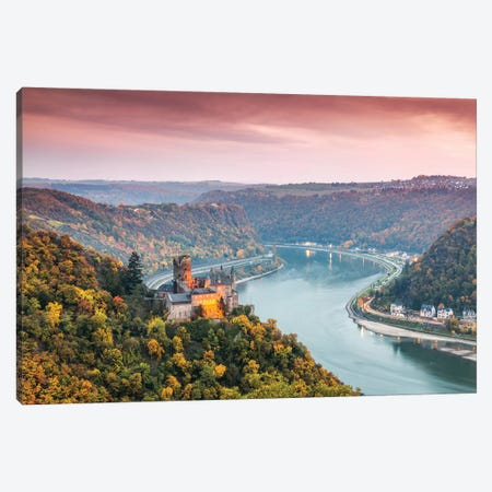 Burg Katz Castle And Romantic Rhine, Germany Canvas Print #TEO125} by Matteo Colombo Canvas Art
