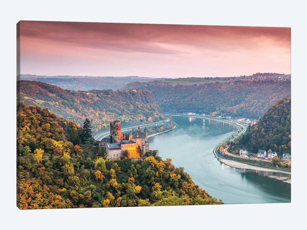 Burg Katz Castle And Romantic Rhine, Germany by Matteo Colombo 1-piece Canvas Wall Art