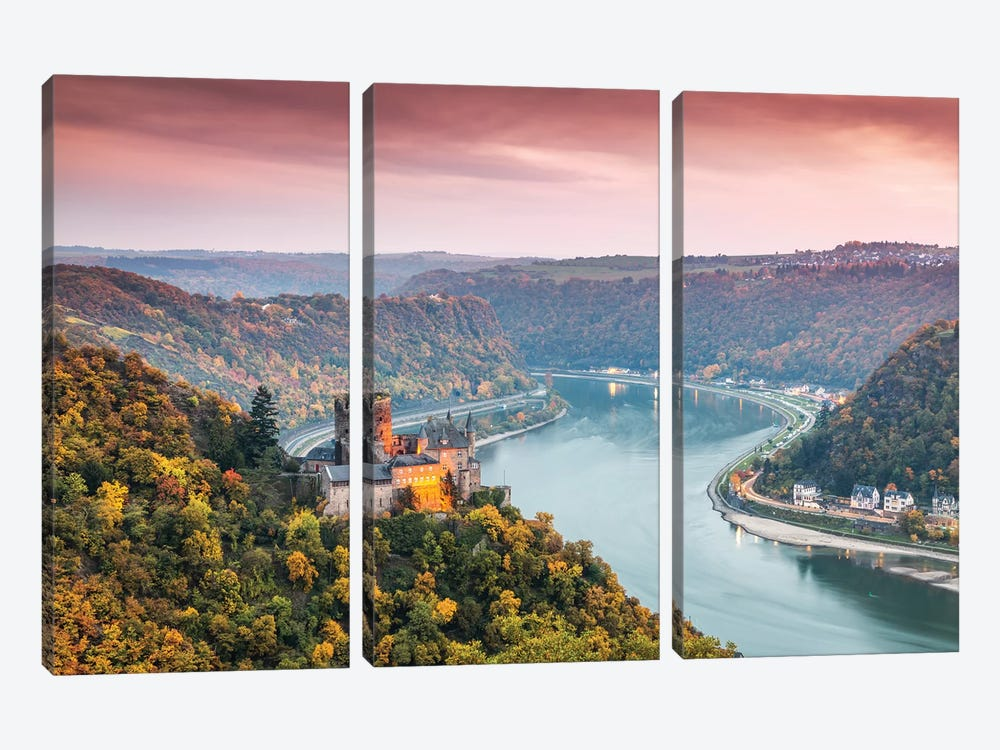 Burg Katz Castle And Romantic Rhine, Germany by Matteo Colombo 3-piece Canvas Wall Art