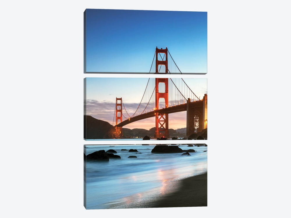 Dawn At The Golden Gate, San Francisco by Matteo Colombo 3-piece Canvas Print