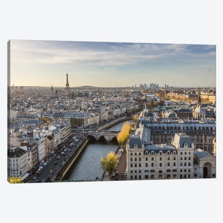Eiffel Tower And River Seine, Paris Canvas Print #TEO128} by Matteo Colombo Art Print