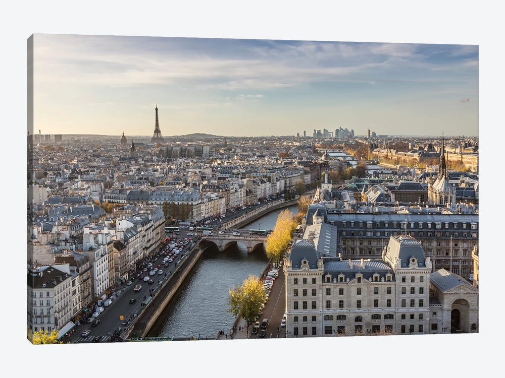 Eiffel Tower And River Seine, Paris by Matteo Colombo 1-piece Canvas Art Print