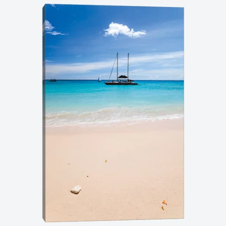 Anchored Yacht Off The Coast, Barbados, Lesser Antilles Canvas Print #TEO12} by Matteo Colombo Art Print