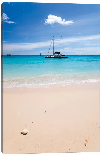 Anchored Yacht Off The Coast, Barbados, Lesser Antilles Canvas Print #TEO12