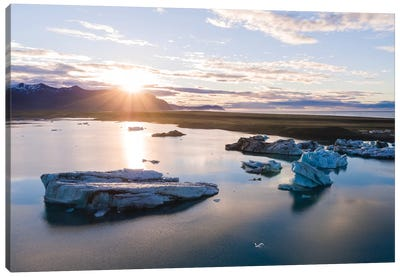 First Light Over The Icebergs Of Jokulsarlon, Iceland Canvas Art Print